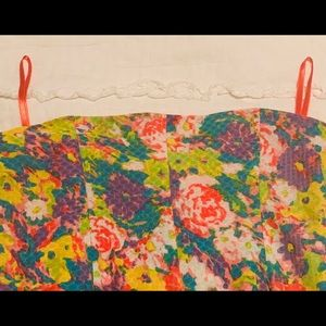 Cooperative Dresses - Cooperative Dress M Neon Floral Print Strapless